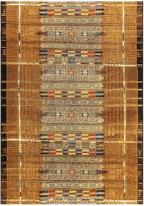 Gold (8057-09) Marina Tribal Stripe Southwestern Area Rugs