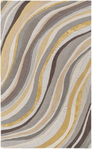 Grey, Gold (LGE-2291) Lounge Carmen Contemporary / Modern Area Rugs