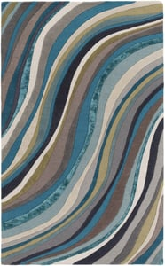 Teal, Ivory (LGE-2293) Lounge Carmen Contemporary / Modern Area Rugs