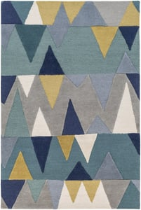 Bright Blue, Aqua, Wheat (KDY-3012) Kennedy Mountains Contemporary / Modern Area Rugs