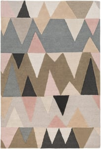 Denim, Camel, Ivory, Charcoal, Taupe (KDY-3015) Kennedy Mountains Contemporary / Modern Area Rugs