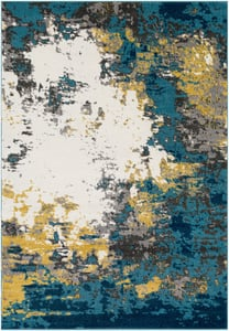 Aqua, Blue, Mustard, Charcoal, Cream, (PEI-1012) Pepin Contemporary II Abstract Area Rugs