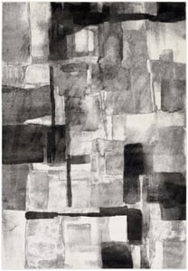 Black, Medium Gray, Cream (PEI-1019) Pepin Contemporary IV Abstract Area Rugs