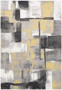 Black, Medium Gray, Mustard, Cream (PEI-1020) Pepin Contemporary IV Abstract Area Rugs