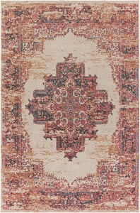 Bright Red, Ivory, Teal (AMS-1022) Amsterdam 26064 Vintage / Overdyed Area Rugs