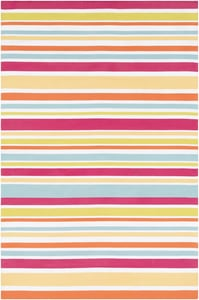 Bright Pink, Lime, Burnt Orange (MTM-1010) Maritime Stripes Striped Area Rugs