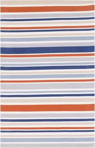 Burnt Orange, Khaki, Blue (MTM-1013) Maritime Stripes Striped Area Rugs