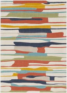 Orange, Yellow, Ivory (CIT-2339) City Branson Contemporary / Modern Area Rugs