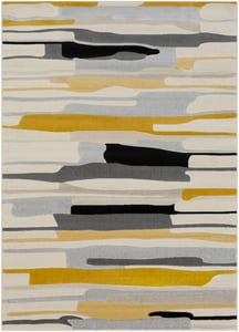 Mustard, Black, Light Gray, Taupe (CIT-2340) City Branson Contemporary / Modern Area Rugs