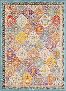 Teal, Pale Blue, Bright Orange (MRC-2313) Morocco Ikat Traditional / Oriental Area Rugs