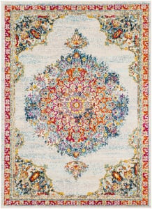 Teal, Pale Blue, Bright Orange (MRC-2324) Morocco Mandala Traditional Bohemian Area Rugs