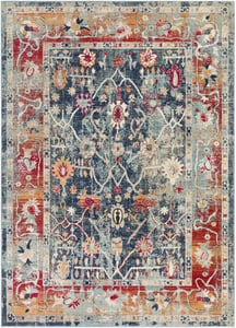 Navy, Charcoal, Bright Red (BOM-2304) Bohemian Distressed Vintage / Overdyed Area Rugs
