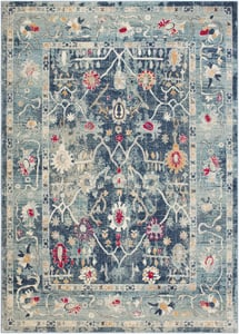 Navy, Teal, Bright Pink (BOM-2305) Bohemian Distressed Vintage / Overdyed Area Rugs