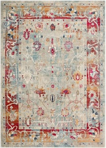 Bright Red, Burnt Orange, Bright Pink (BOM-2306) Bohemian Distressed Vintage / Overdyed Area Rugs