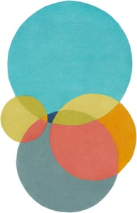 Teal, Lime, Dark Blue (BCK-1008) Beck 23263 Contemporary / Modern Area Rugs