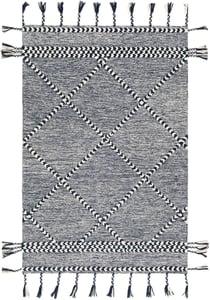 Navy, Cream (ZTS-2305) Zanafi Tassels 24568 Bohemian Area Rugs