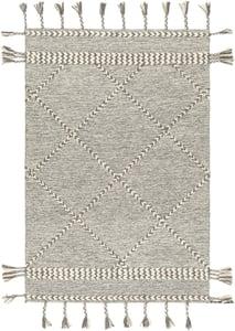 Medium Grey, Cream (ZTS-2306) Zanafi Tassels 24568 Bohemian Area Rugs