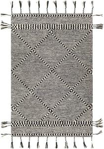 Black, Cream (ZTS-2307) Zanafi Tassels 24568 Bohemian Area Rugs