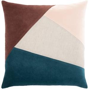 Beige, Teal, Garnet (MZA-002) Moza Pillow 24617 Contemporary / Modern Pillow