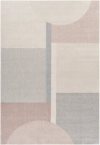 Pale Pink, Beige, Light Grey (XUF-1001) Flux 26992 Geometric Area Rugs