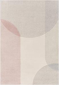 Beige, Light Grey, Pink (XUF-1004) Flux 26994 Geometric Area Rugs