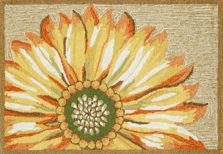 Yellow (1417-09) Front Porch Sunflower Floral / Botanical Area Rugs