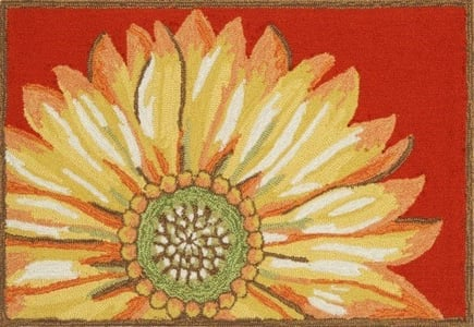 Red (1417-24) Front Porch Sunflower Floral / Botanical Area Rugs