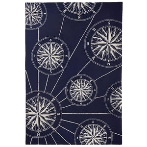Navy (1447-33) Front Porch Compass Beach / Nautical Area Rugs