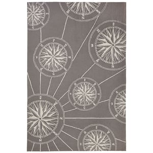 Grey (1447-47) Front Porch Compass Beach / Nautical Area Rugs