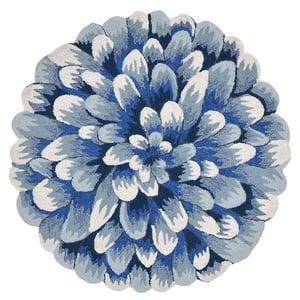Blue (1828-03) Front Porch Mum Floral / Botanical Area Rugs