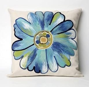 Aqua, Blue, Green, White (3149-04) Visions III Pillow Daisy Floral / Botanical Pillow