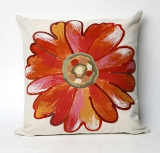 Orange, Pink, White (3149-17) Visions III Pillow Daisy Floral / Botanical Pillow