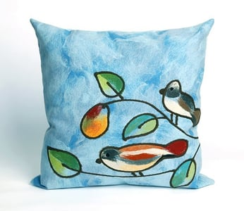 Blue, Green, Orange (4119-03) Visions III Pillow Song Birds Floral / Botanical Pillow