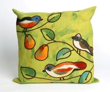 Green, Blue, Orange (4119-06) Visions III Pillow Song Birds Floral / Botanical Pillow