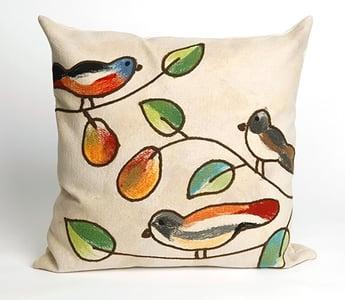 Cream, Green, Orange (4119-12) Visions III Pillow Song Birds Floral / Botanical Pillow