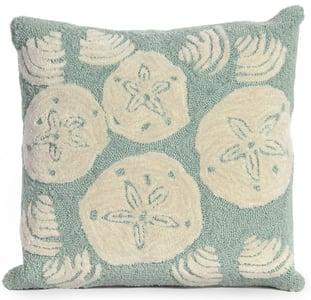 Aqua, Ivory (1408-04) Front Porch Pillow Shell Toss Beach / Nautical Pillow