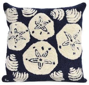 Navy, Ivory (1408-33) Front Porch Pillow Shell Toss Beach / Nautical Pillow