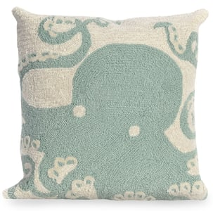 Aqua, Ivory (1432-04) Front Porch Pillow Octopus Beach / Nautical Pillow