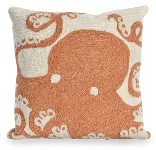 Coral, Ivory (1432-17) Front Porch Pillow Octopus Beach / Nautical Pillow