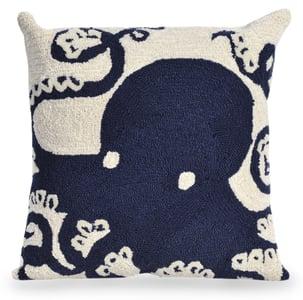 Navy, Ivory (1432-33) Front Porch Pillow Octopus Beach / Nautical Pillow