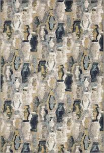 Cream, Grey, Teal (Mallard Green) Soiree Gimlet Contemporary / Modern Area Rugs