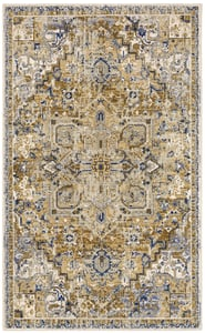 Brown, Blue, Ivory (Biscotti) Tempest Perception Bohemian Area Rugs