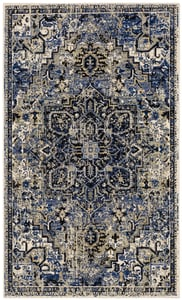 Blue, Grey, Black (Cobalt) Tempest Perception Bohemian Area Rugs