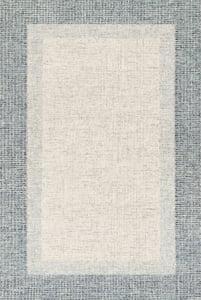 Grey, Blue Rosina ROI-01 Contemporary / Modern Area Rugs