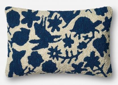 Navy, Ivory ED Outdoor I Pillow P4075 Animals / Animal Skins Pillow
