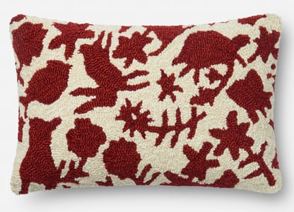 Red, Ivory ED Outdoor I Pillow P4075 Animals / Animal Skins Pillow