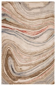 Brown, Red (GES-31) Genesis Atha Abstract Area Rugs