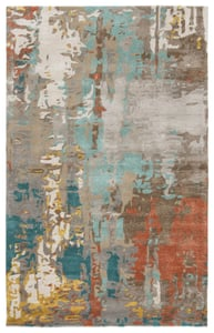Grey, Blue, Red (GES-08) Genesis Matcha Abstract Area Rugs