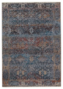 Dark Blue, Red (VLN-17) Valentia Thessaly Traditional / Oriental Area Rugs