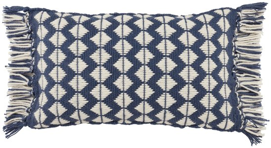 Dark Blue, Ivory (CHE-03) Chesa Pillow Perdita Geometric Pillow